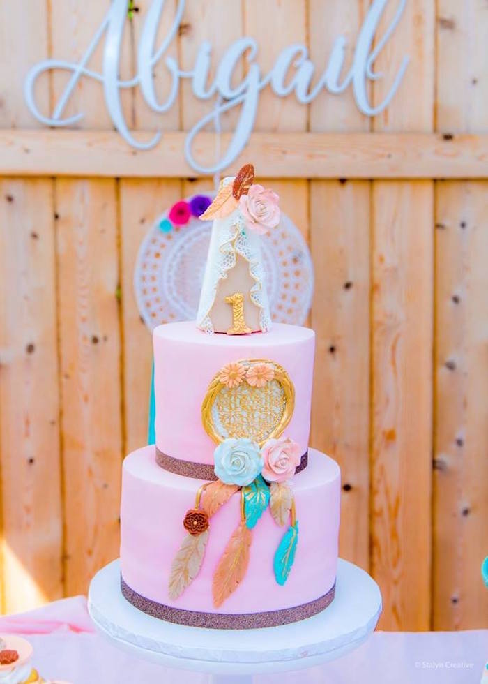 Boho cake from a Bohemian Circus Birthday Party on Kara's Party Ideas | KarasPartyIdeas.com (3)