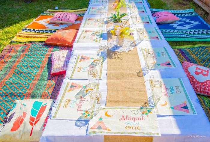 Boho guest table from a Bohemian Circus Birthday Party on Kara's Party Ideas | KarasPartyIdeas.com (21)
