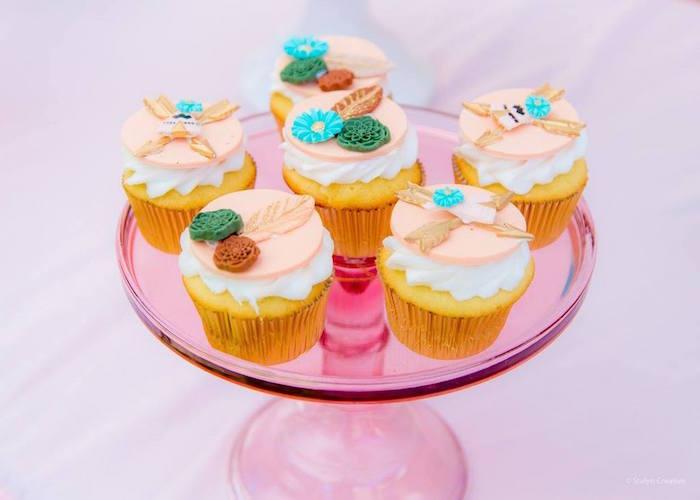 Boho cupcakes from a Bohemian Circus Birthday Party on Kara's Party Ideas | KarasPartyIdeas.com (17)