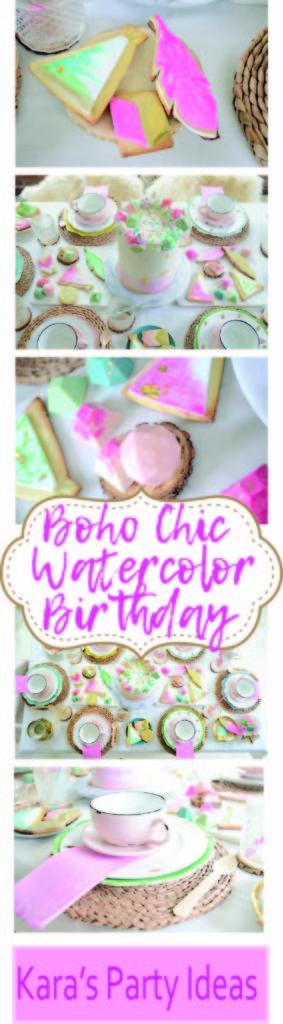 Boho Chic Watercolor Birthday Party via Kara's Party Ideas