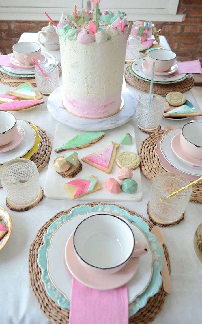 Cakescape from a Boho Chic Watercolor Birthday Party on Kara's Party Ideas | KarasPartyIdeas.com (16)