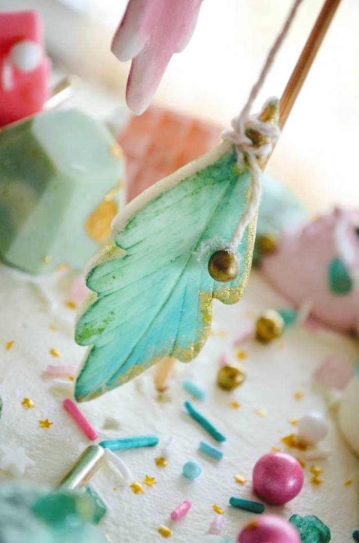 Feather cookie cake topper from a Boho Chic Watercolor Birthday Party on Kara's Party Ideas | KarasPartyIdeas.com (12)