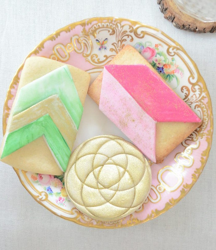 Bohemian Watercolor Cookies from a Boho Chic Watercolor Birthday Party on Kara's Party Ideas | KarasPartyIdeas.com (11)