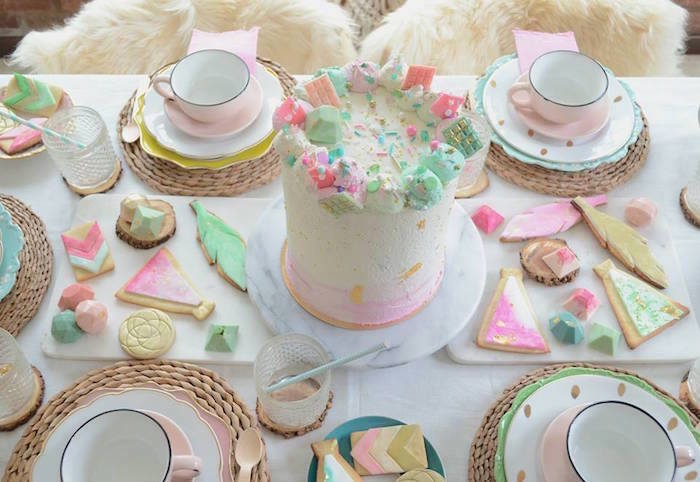 Cake, cookies and gem chocolates from a Boho Chic Watercolor Birthday Party on Kara's Party Ideas | KarasPartyIdeas.com (10)