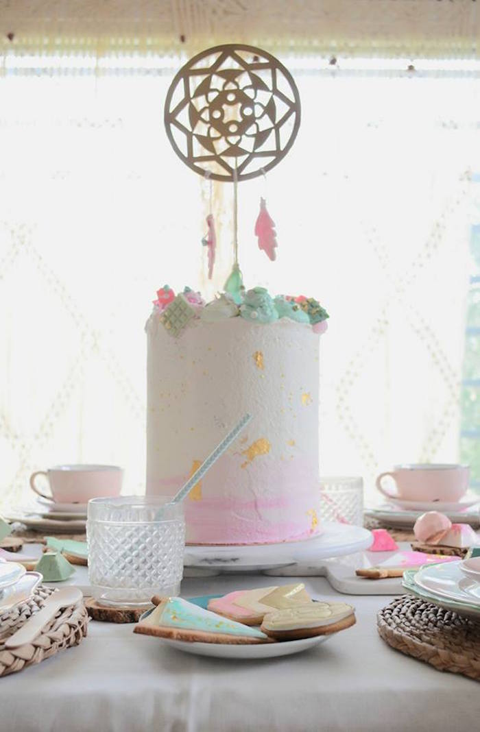 Bohemian Watercolor Cake from a Boho Chic Watercolor Birthday Party on Kara's Party Ideas | KarasPartyIdeas.com (9)