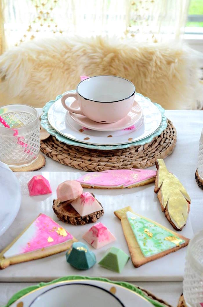 Cookies and chocolates from a Boho Chic Watercolor Birthday Party on Kara's Party Ideas | KarasPartyIdeas.com (6)