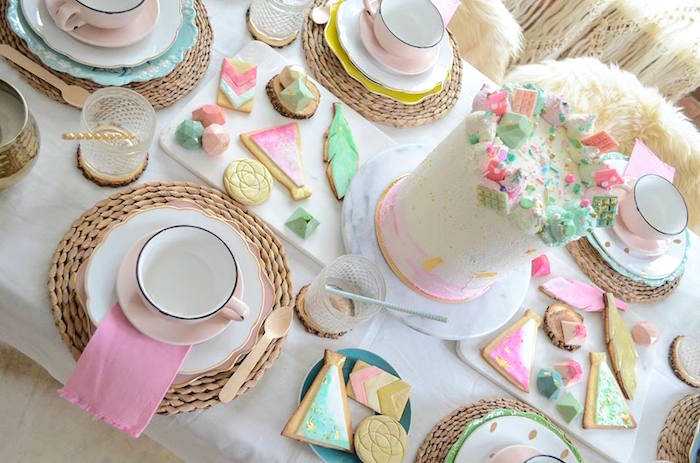 Guest tabletop from a Boho Chic Watercolor Birthday Party on Kara's Party Ideas | KarasPartyIdeas.com (5)