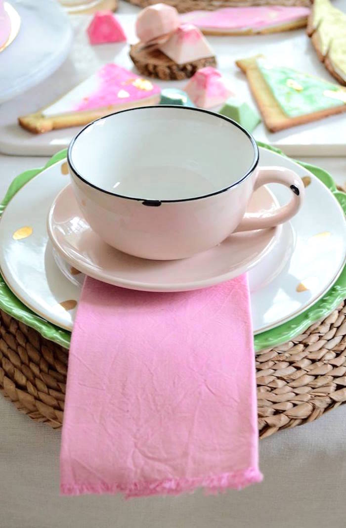 Cup & saucer place setting from a Boho Chic Watercolor Birthday Party on Kara's Party Ideas | KarasPartyIdeas.com (25)