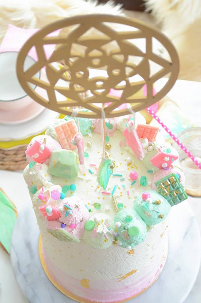 Cake top from a Boho Chic Watercolor Birthday Party on Kara's Party Ideas | KarasPartyIdeas.com (21)
