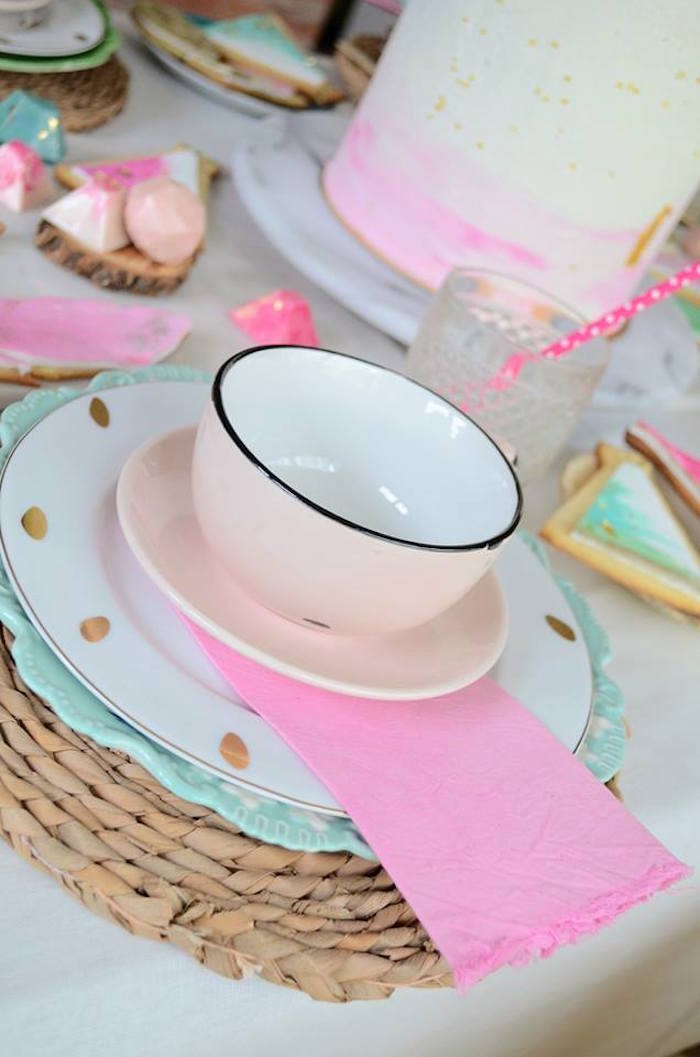 Place setting from a Boho Chic Watercolor Birthday Party on Kara's Party Ideas | KarasPartyIdeas.com (18)