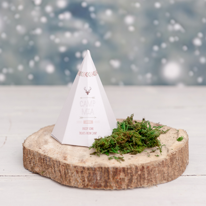 Teepee favor box from a Boho Winter Camping Sleepover Birthday Party on Kara's Party Ideas | KarasPartyIdeas.com (32)