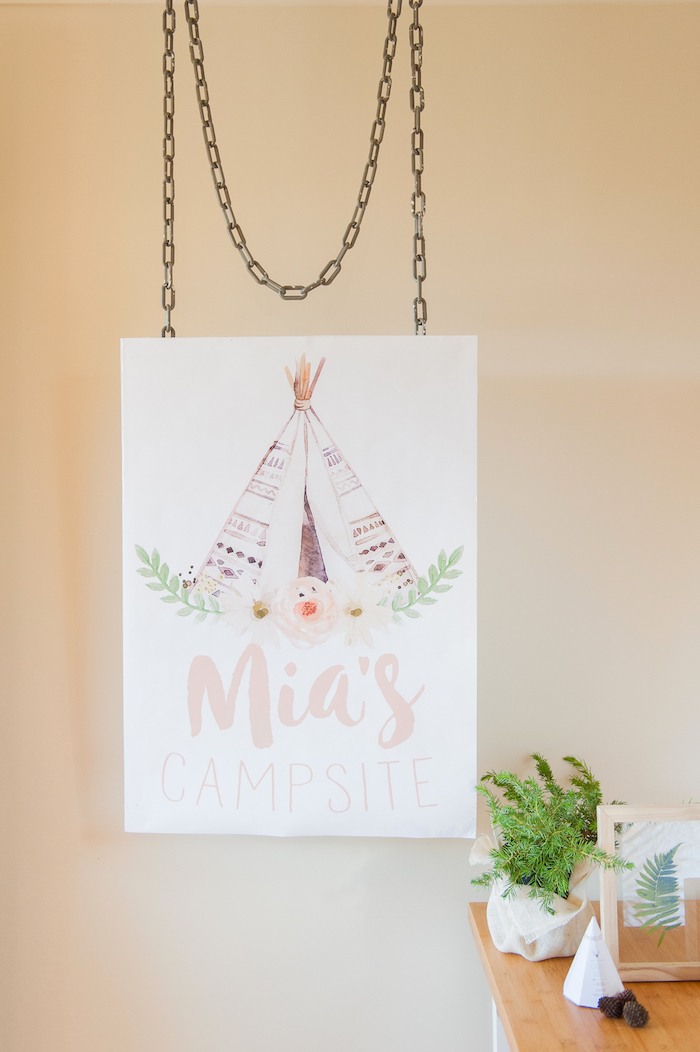 Custom teepee party signage from a Boho Winter Camping Sleepover Birthday Party on Kara's Party Ideas | KarasPartyIdeas.com (27)