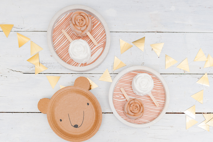 Bear plates and floral ice creams from a Boho Winter Camping Sleepover Birthday Party on Kara's Party Ideas | KarasPartyIdeas.com (25)