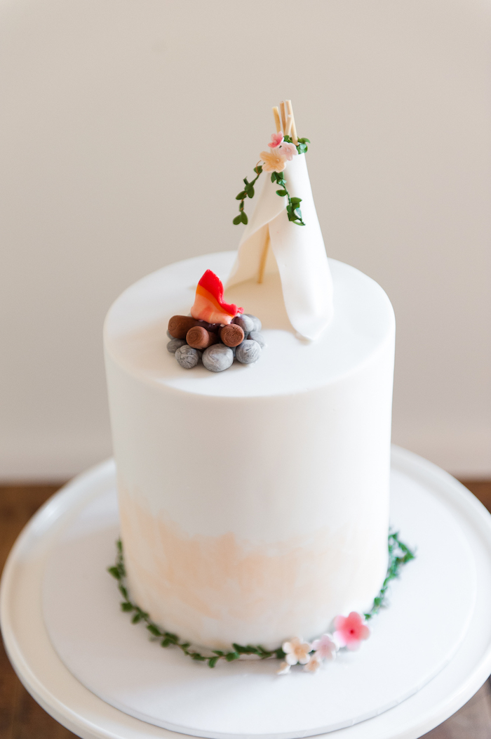 Teepee cake from a Boho Winter Camping Sleepover Birthday Party on Kara's Party Ideas | KarasPartyIdeas.com (19)