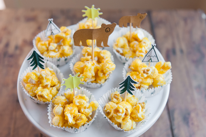 Camping caramel corn from a Boho Winter Camping Sleepover Birthday Party on Kara's Party Ideas | KarasPartyIdeas.com (17)