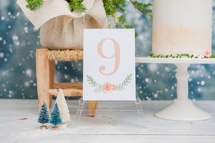 "Floral ""9"" print from a Boho Winter Camping Sleepover Birthday Party on Kara's Party Ideas 