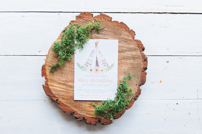 Boho Party Invite from a Boho Winter Camping Sleepover Birthday Party on Kara's Party Ideas | KarasPartyIdeas.com (40)