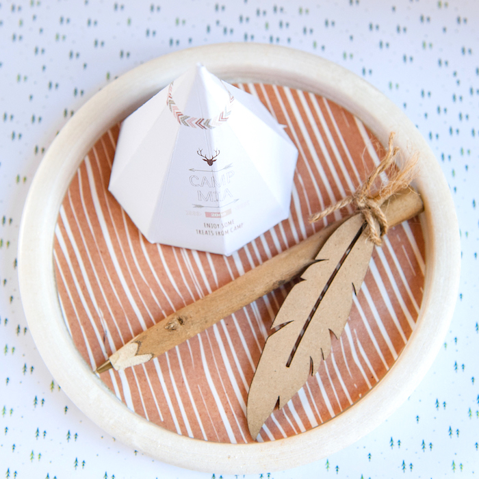 Feather twig favor pen from a Boho Winter Camping Sleepover Birthday Party on Kara's Party Ideas | KarasPartyIdeas.com (12)