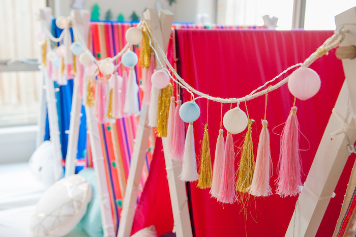 Tassels and pom lights from a Boho Winter Camping Sleepover Birthday Party on Kara's Party Ideas | KarasPartyIdeas.com (6)