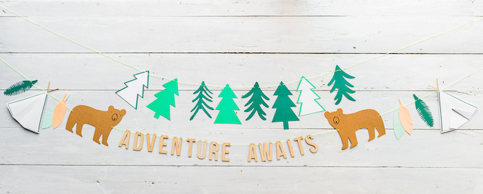Adventure Awaits party banner from a Boho Winter Camping Sleepover Birthday Party on Kara's Party Ideas | KarasPartyIdeas.com (34)
