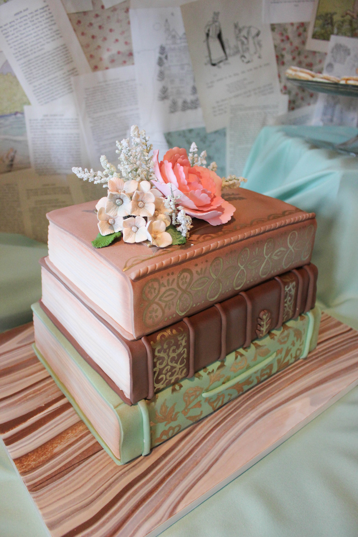Book Cake from a Librarian Book Themed Retirement Party via Kara's Party Ideas | KarasPartyIdeas.com