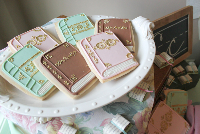 Book Cookies Librarian Book Themed Retirement Party via Kara's Party Ideas | KarasPartyIdeas.com