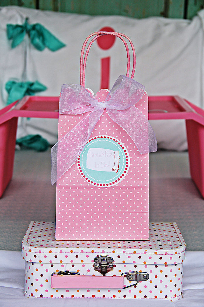 Gift bag & mini vintage suitcase from a Breakfast in Bed Sleepover Party on Kara's Party Ideas | KarasPartyIdeas.com (14)