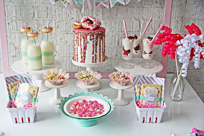 Sweet + food table from a Breakfast in Bed Sleepover Party on Kara's Party Ideas | KarasPartyIdeas.com (13)