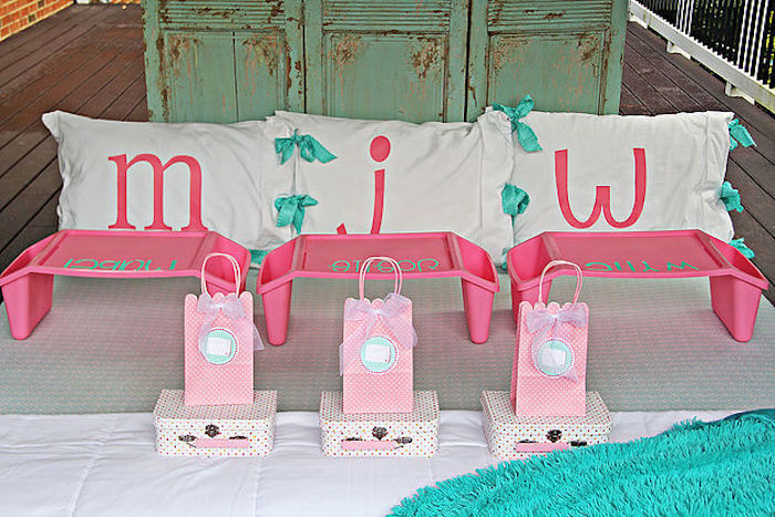 Monogrammed pillows and favors from a Breakfast in Bed Sleepover Party on Kara's Party Ideas | KarasPartyIdeas.com (4)