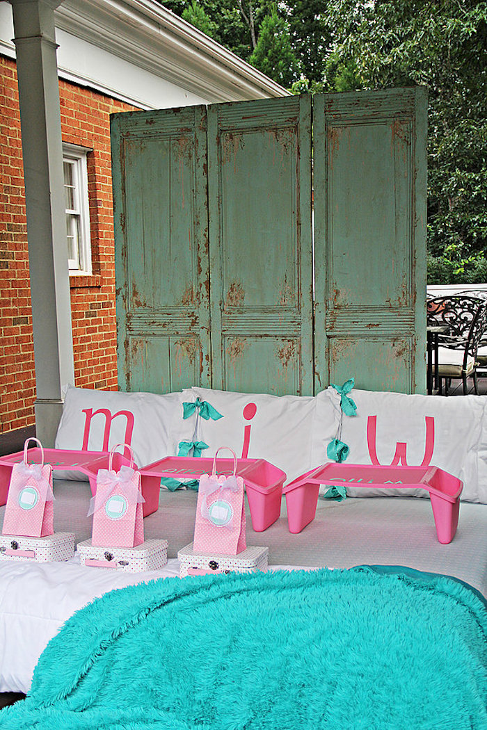 Mattress party spread from a Breakfast in Bed Sleepover Party on Kara's Party Ideas | KarasPartyIdeas.com (20)