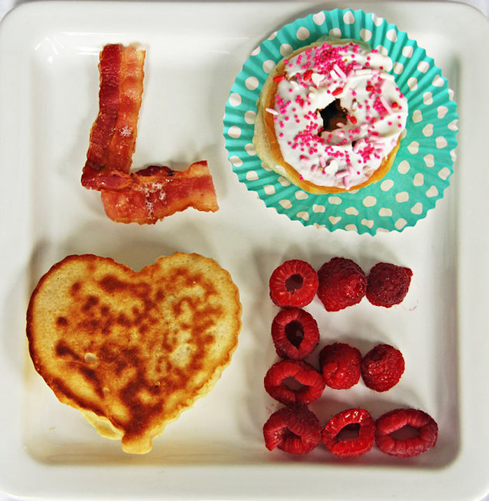 LOVE Breakfast Food Plate from a Breakfast in Bed Sleepover Party on Kara's Party Ideas | KarasPartyIdeas.com (19)