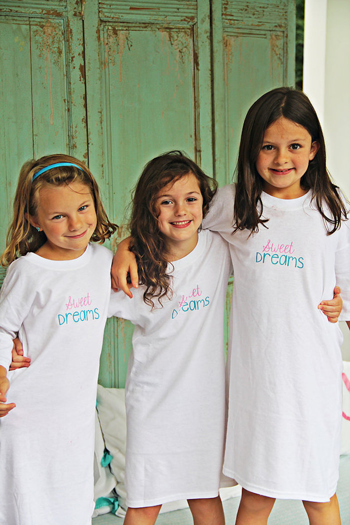 Custom T-Shirt Pajamas from a Breakfast in Bed Sleepover Party on Kara's Party Ideas | KarasPartyIdeas.com (18)
