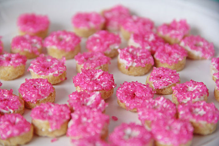 Pink sprinkled donuts from a Breakfast in Bed Sleepover Party on Kara's Party Ideas | KarasPartyIdeas.com (15)