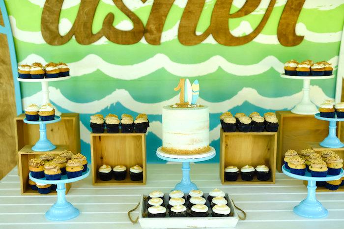 Sweet table from a California Surf Birthday Party on Kara's Party Ideas | KarasPartyIdeas.com (20)