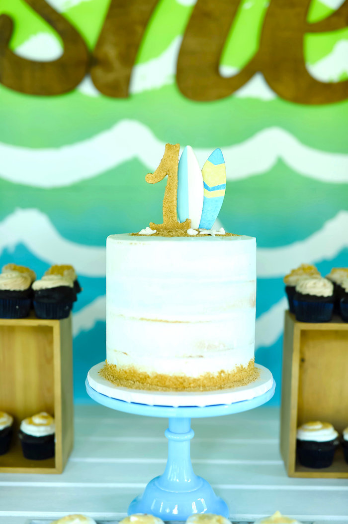 Surf cake from a California Surf Birthday Party on Kara's Party Ideas | KarasPartyIdeas.com (19)