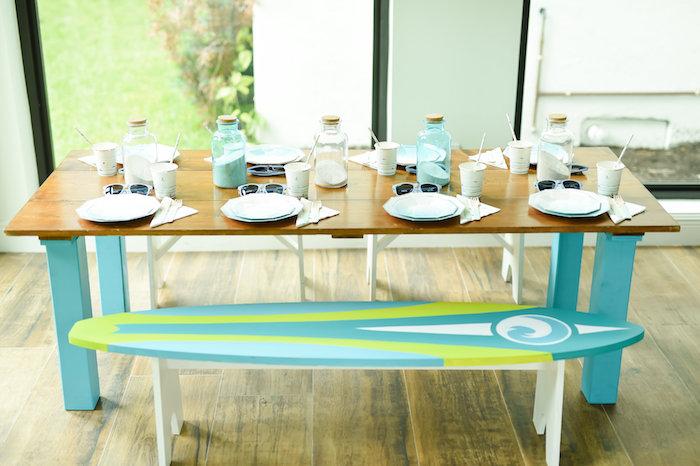 Guest table from a California Surf Birthday Party on Kara's Party Ideas | KarasPartyIdeas.com (38)