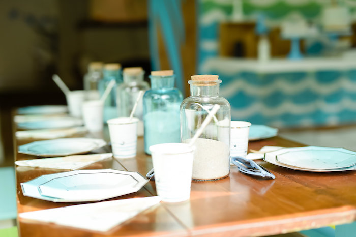 Sand bottle guest tablescape from a California Surf Birthday Party on Kara's Party Ideas | KarasPartyIdeas.com (37)