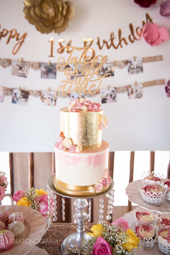 Foil rose cake from a Chic Beauty and the Beast Birthday Party on Kara's Party Ideas | KarasPartyIdeas.com (20)