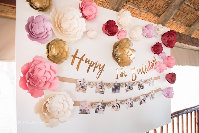 Paper flower backdrop from a Chic Beauty and the Beast Birthday Party on Kara's Party Ideas | KarasPartyIdeas.com (19)