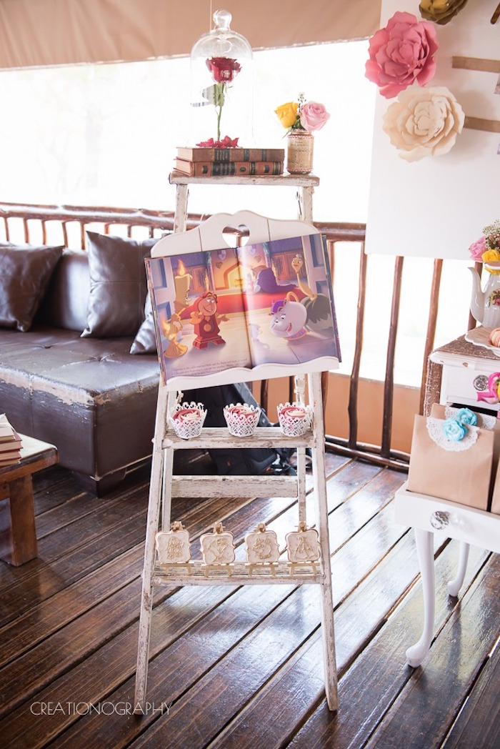 Ladder shelf from a Chic Beauty and the Beast Birthday Party on Kara's Party Ideas | KarasPartyIdeas.com (18)
