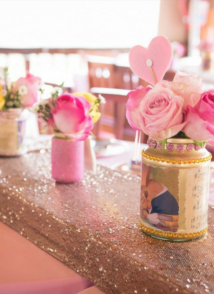 Flower centerpieces from a Chic Beauty and the Beast Birthday Party on Kara's Party Ideas | KarasPartyIdeas.com (17)