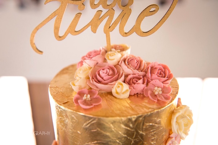 Gold foil cake from a Chic Beauty and the Beast Birthday Party on Kara's Party Ideas | KarasPartyIdeas.com (13)