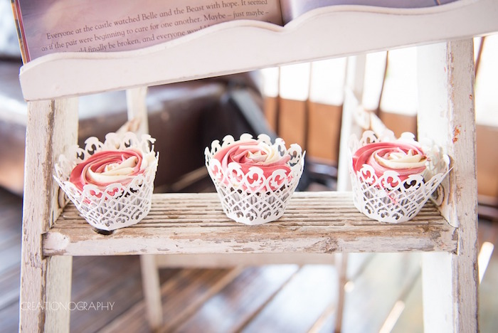 Cupcakes from a Chic Beauty and the Beast Birthday Party on Kara's Party Ideas | KarasPartyIdeas.com (30)
