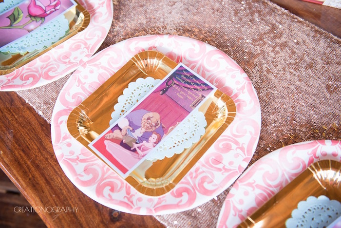 Place setting from a Chic Beauty and the Beast Birthday Party on Kara's Party Ideas | KarasPartyIdeas.com (10)