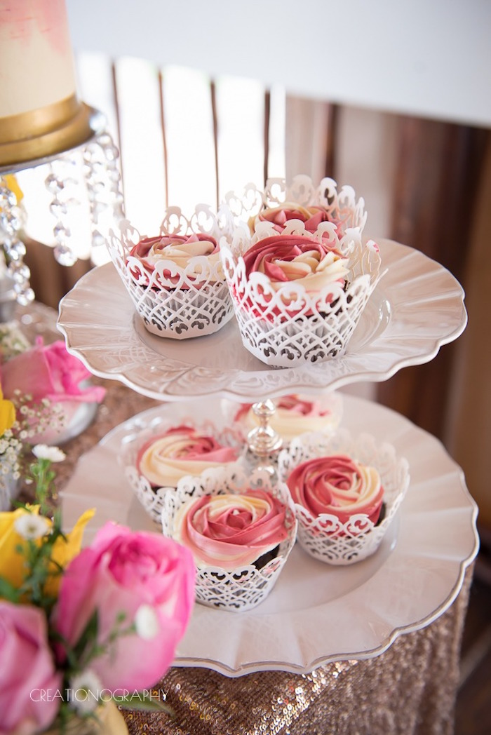 Lace cupped cupcakes from a Chic Beauty and the Beast Birthday Party on Kara's Party Ideas | KarasPartyIdeas.com (9)