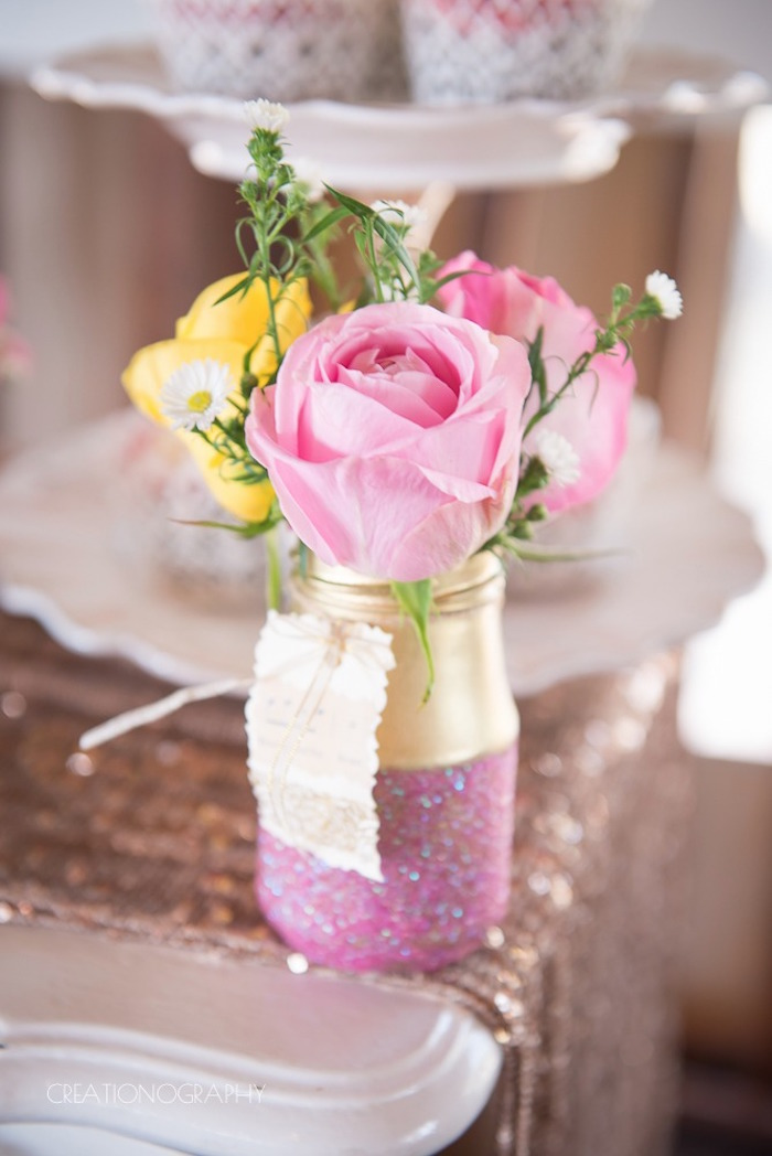 Glam mason jar bloom centerpiece from a Chic Beauty and the Beast Birthday Party on Kara's Party Ideas | KarasPartyIdeas.com (8)
