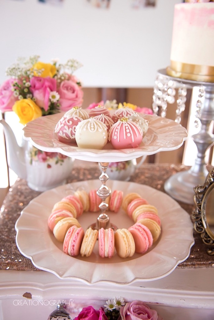 Scalloped sweet pedestal from a Chic Beauty and the Beast Birthday Party on Kara's Party Ideas | KarasPartyIdeas.com (7)