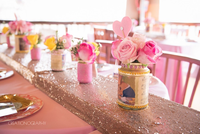 Glam guest tablescape + flower centerpieces from a Chic Beauty and the Beast Birthday Party on Kara's Party Ideas | KarasPartyIdeas.com (29)