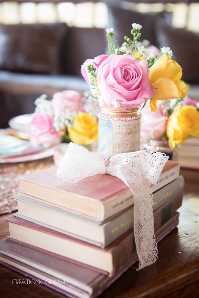 Book and bloom centerpiece from a Chic Beauty and the Beast Birthday Party on Kara's Party Ideas | KarasPartyIdeas.com (28)