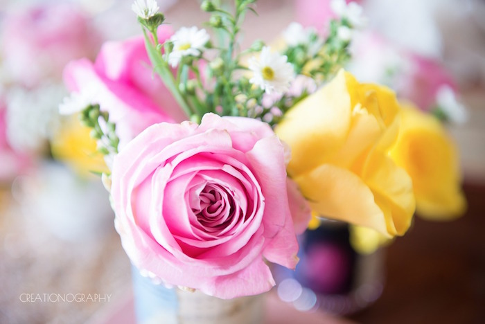 Pink & yellow blooms from a Chic Beauty and the Beast Birthday Party on Kara's Party Ideas | KarasPartyIdeas.com (25)